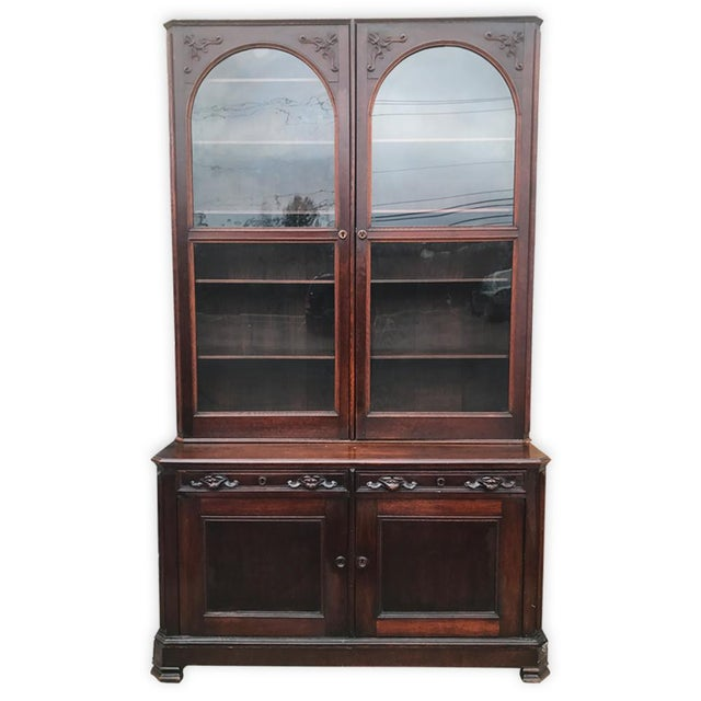 Antique English Victorian Mahogany Secretaire Bookcase Secretary Desk - Image 2 of 11