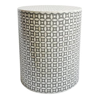 Grey Inlay Round Side Table For Sale
