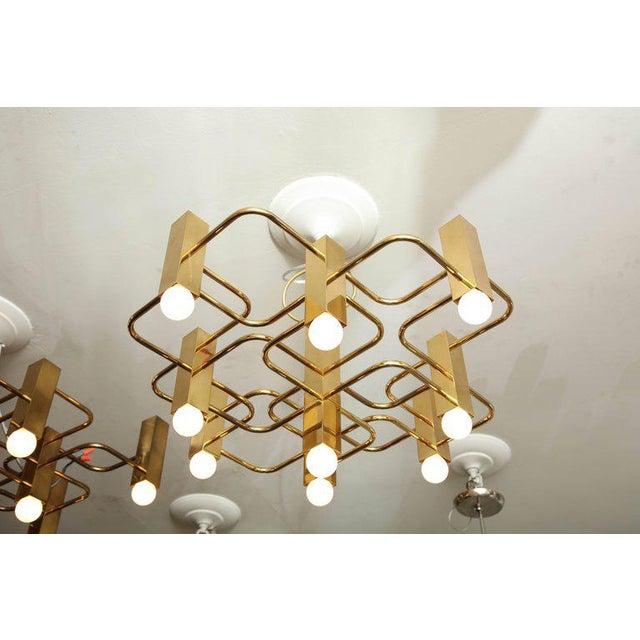 Gold Nine-Arm Sciolari Chandelier Pendant For Sale - Image 8 of 8