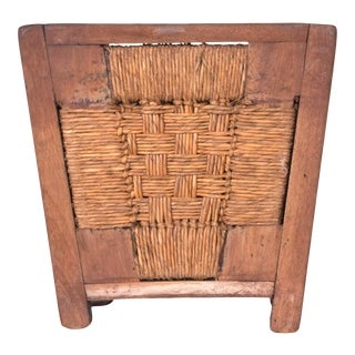 Mexican Modernist Mahogany & Seagrass Waste Basket Michael Van Beuren Domus For Sale