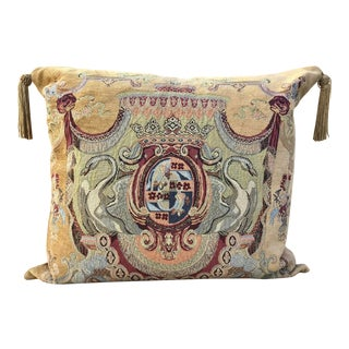 French Square Tapestry Pillow of Swan Coat of Arms For Sale