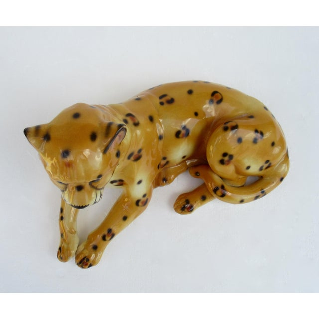 Hollywood Regency Italian Porcelain Ceramic Hand-Painted Leopard in Repose For Sale - Image 10 of 13