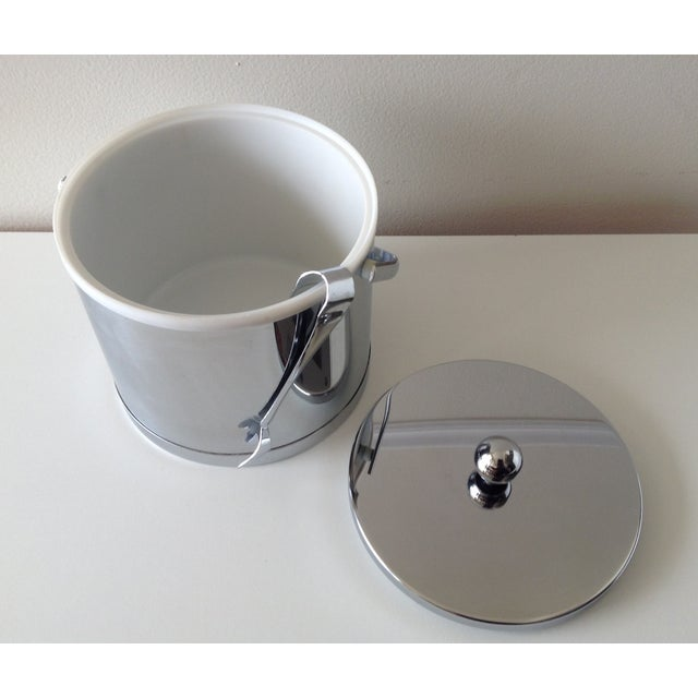 Vintage Chrome Ice Bucket With Tongs - Image 5 of 6