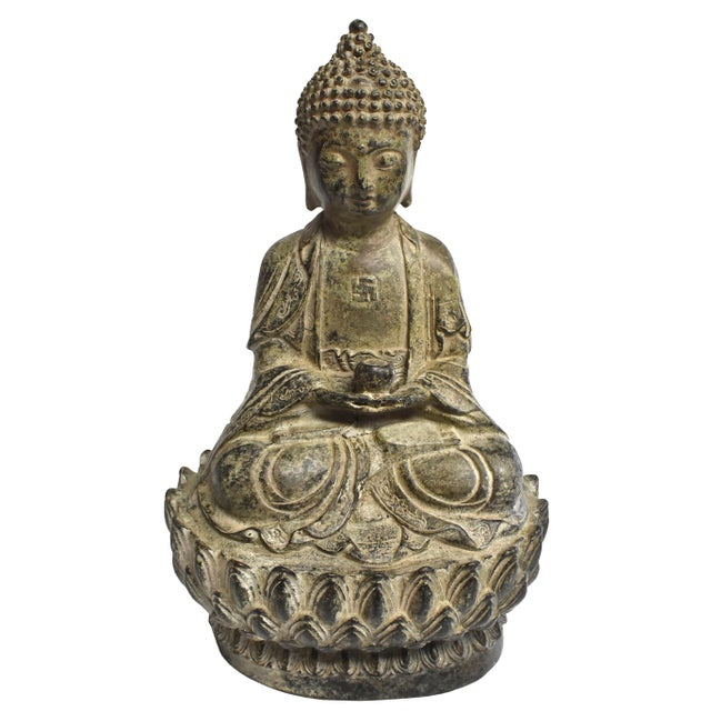 19th Century Antique Bronze Buddha Statue For Sale - Image 13 of 13