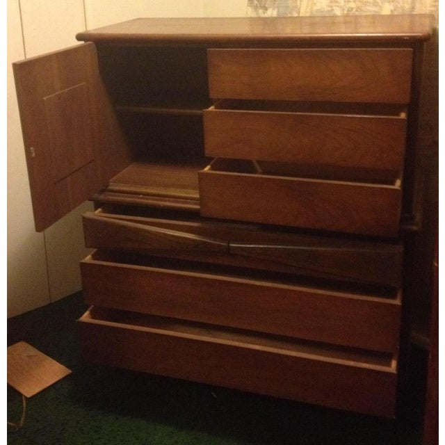 Bassett Mid Century Modern -All 3 Pieces-Triple Dresser W Mirror and Chest on Chest in Bow Tie Style - Image 4 of 9