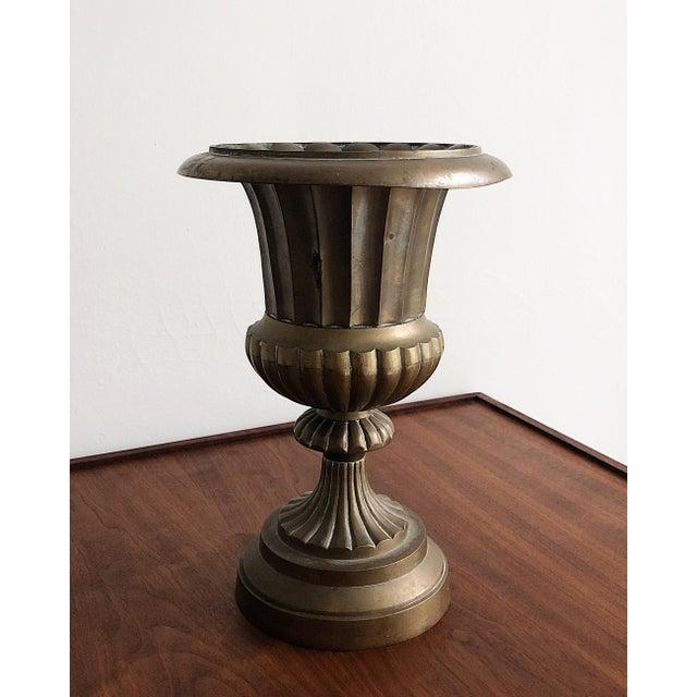Art Deco Hollywood Regency Style Brass Urn Vase Planter For Sale - Image 3 of 8