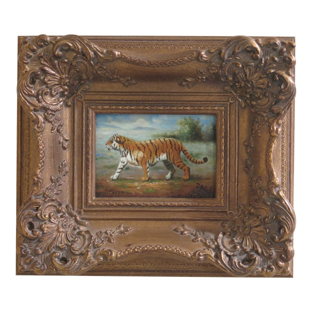 1990s Vintage A.costa Framed Tiger Oil Painting on Board For Sale