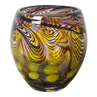 Large Murano Art Glass Vase Circa 1960 For Sale