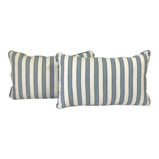 Country Kravet Rogers and Goffigon Striped Kidney Pillows - a Pair For Sale