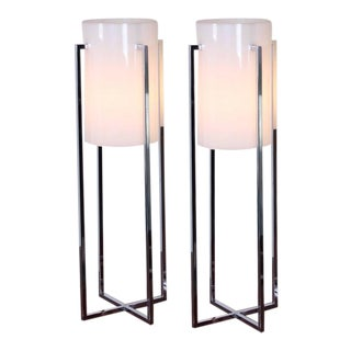 Pair of Tall Table Lamps by Sonneman For Sale