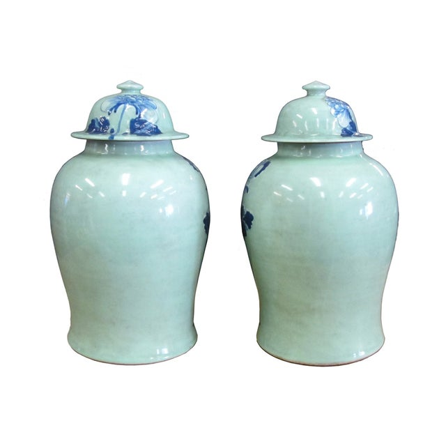 Chinese Blue Porcelain Temple Jars - A Pair - Image 3 of 4
