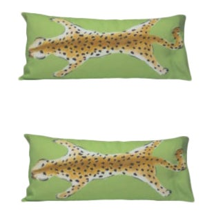 Dana Gibson Leopard in Green Faux Hide Lumbars - a Pair For Sale