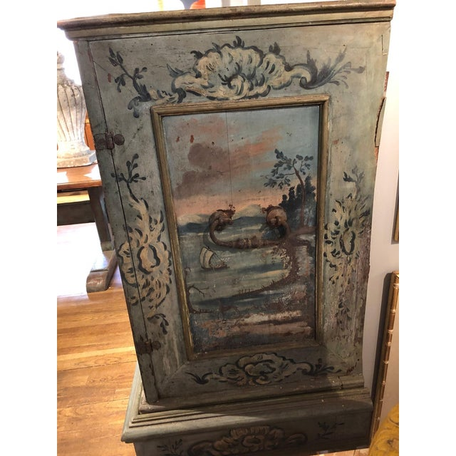 17th Century Blue Hand Painted Swiss Baroque Multi-Drawer Cabinet For Sale - Image 4 of 8