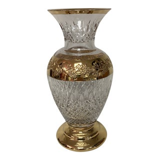 Waterford Lismore Gold Accent Crystal Vase For Sale