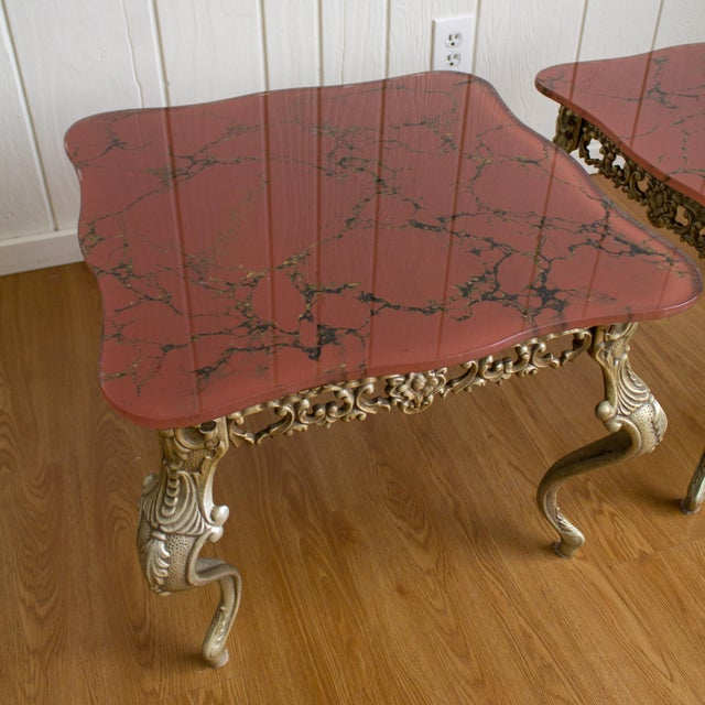 Metal Hollywood Regency Side Tables   Red Marbled Glass Cabriole Legs For Sale - Image 7 of 11