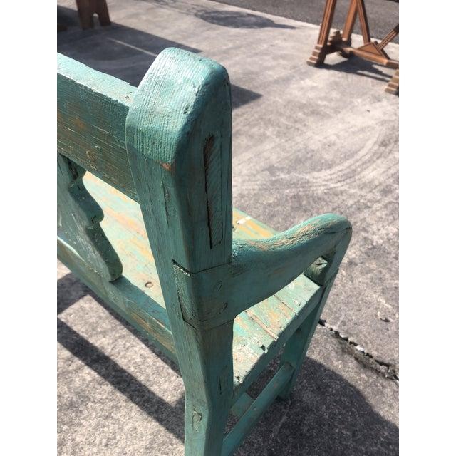 Distressed Turquoise Antique Santa Fe Bench For Sale - Image 11 of 13