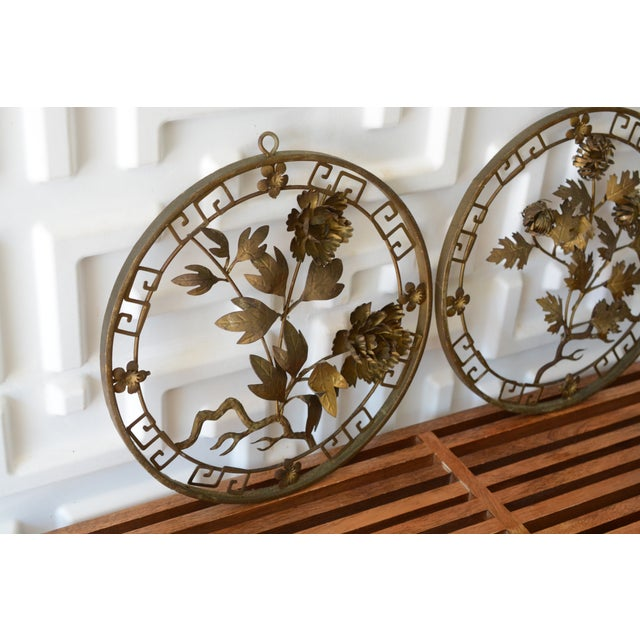 Metal 1950s Mid-Century Modern Brass 3d Floral Wall Hangings - a Pair For Sale - Image 7 of 8
