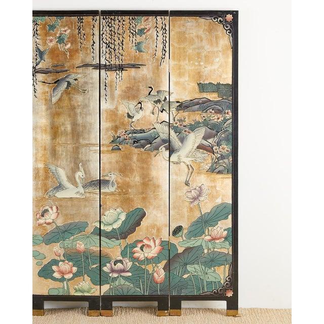 Chinese Export Gilt Coromandel Screen Crane Landscape For Sale - Image 4 of 13