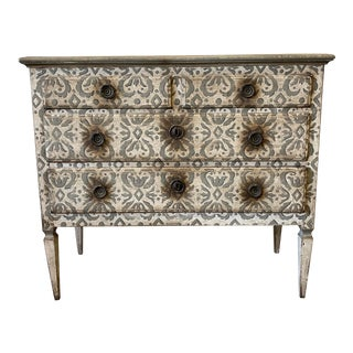 Italian Antique Painted Commode Chest of Drawers- 19th C For Sale