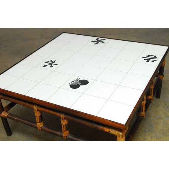 Ficks Reed Tile And Bamboo Coffee Table Chairish