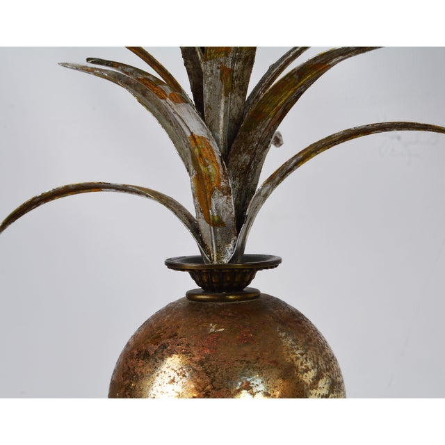 Bronze Pair of Vintage Tropical Themed Distressed Gilt Table Lamps by John Richard For Sale - Image 7 of 12