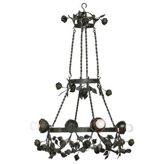 Country French Romantic Forged Iron Rose Chandelier For Sale