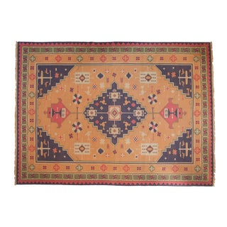 "Vintage Stone Wash Dhurrie Carpet - 10'1"" X 13'9"" For Sale"