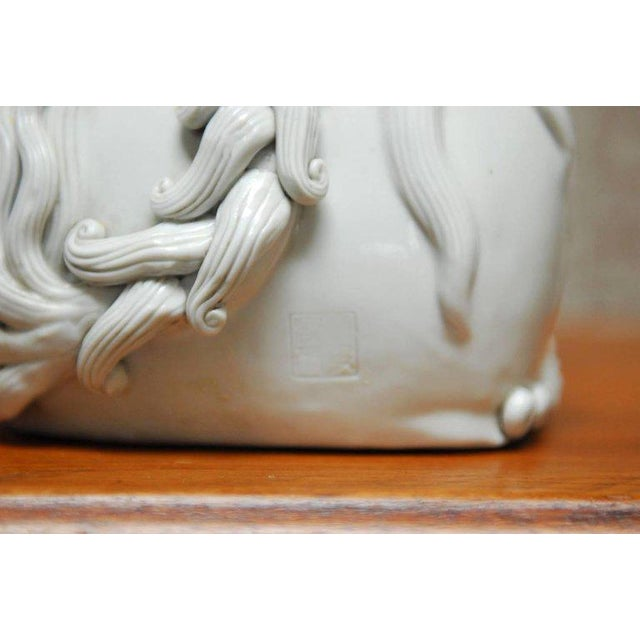 White Pair of Chinese Dehua Blanc de Chine Foo Dogs For Sale - Image 8 of 10