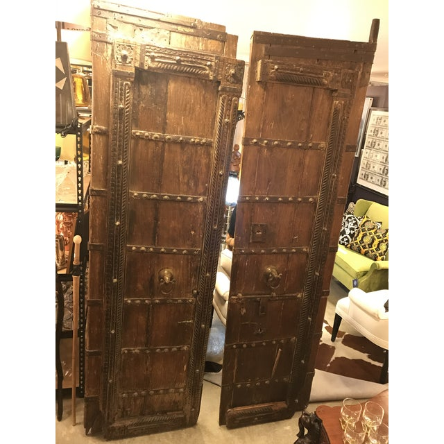 Metal Original Antique Salvaged Hand-Made Indian Doors For Sale - Image 7 of 12