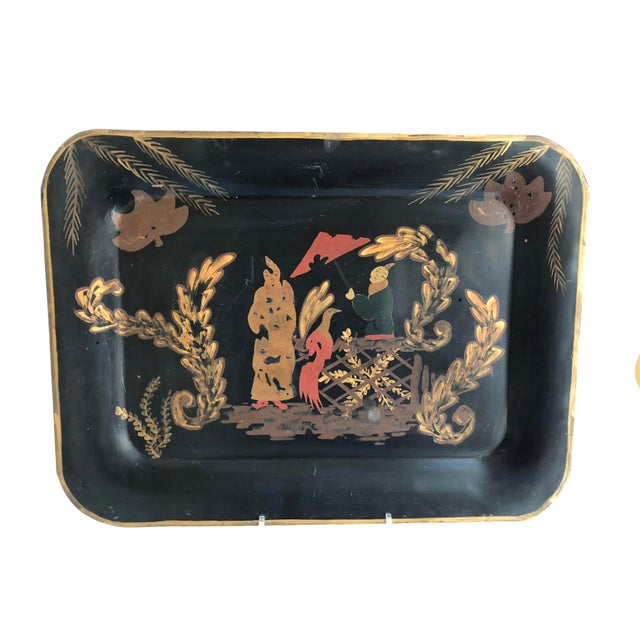 1990s Vintage Hand-Painted Chinoiserie Tole Tray For Sale - Image 5 of 5