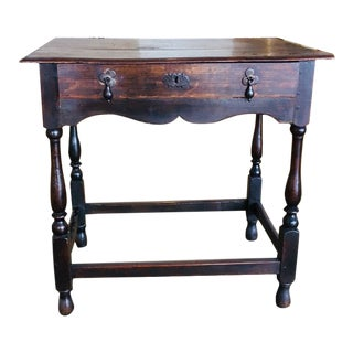 William and Mary Oak Tavern Side Table For Sale