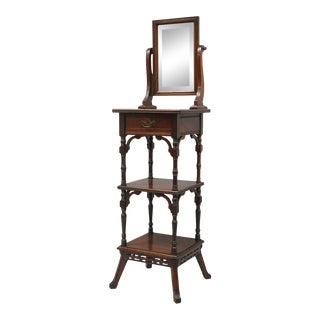 Antique Eastlake Victorian Walnut Shaving Stand For Sale
