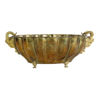 Vintage Brass Bowl With Rams Head Feet For Sale