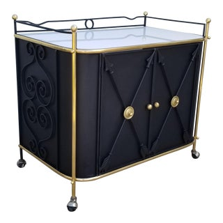 1950s Hollywood Regency Metal and Brass Bar Cart For Sale
