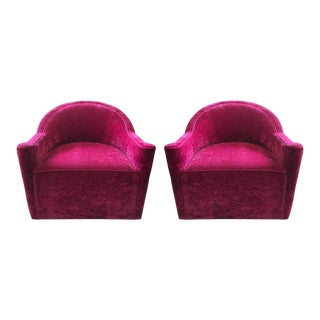 Pair of Flavor Custom Design Swivel Lounge Chairs in Mohair