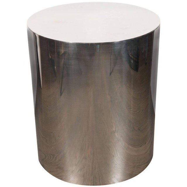 American Mid-Century Modern Cylindrical Chrome Side Table or Pedestal For Sale In New York - Image 6 of 6