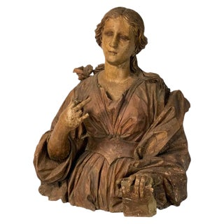 Large 18th Century Italian Carved Wood Bust For Sale