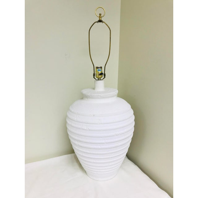White Vintage Cresswell White Pottery Oversized Table Lamp For Sale - Image 8 of 8