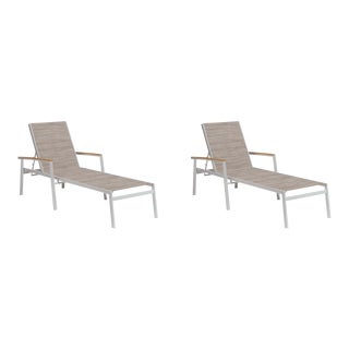 Outdoor Sling Chaise Lounge, Natural and Beige (Set of 2) For Sale