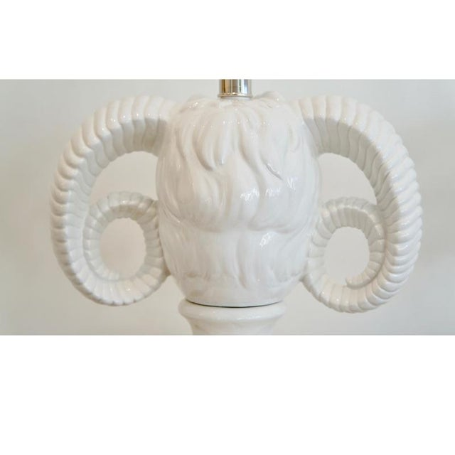 1960s Ceramic Rams Head Table Lamps - a Pair For Sale - Image 9 of 9