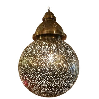 Moroccan Copper Ball Shape Ceiling Lamp/Lantern For Sale
