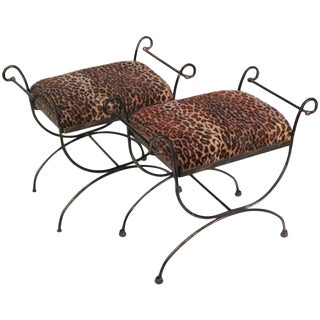 Mid-Century Modern Iron Leopard Print Cerule Benches - A Pair For Sale