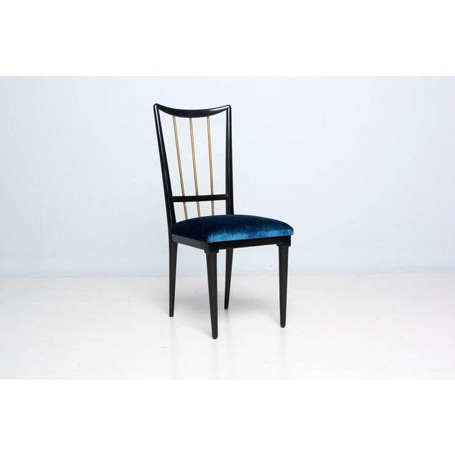Mahogany Table & Blue Velvet Dining Chair Set For Sale - Image 9 of 9