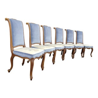 1970s Vintage Karges French Regency Style Walnut Dining Chairs - Set of 6 For Sale