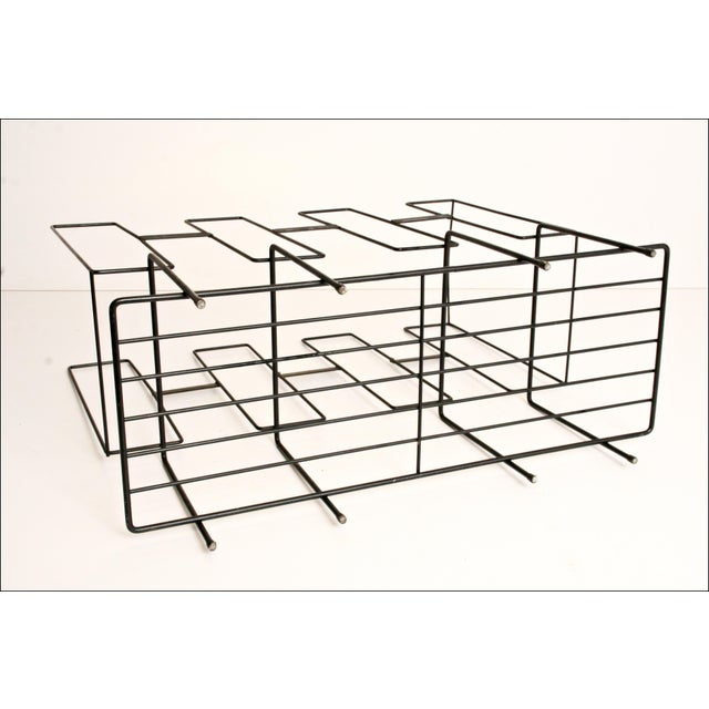 Mid-Century Modern Black Wire Record Rack For Sale - Image 4 of 11