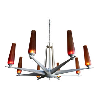 Mid Century Hand-Hammered Aluminum & Venini Glass Chandelier For Sale