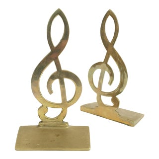 Vintage Brass Treble Clef Bookends