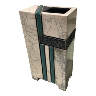 1990s Post-Modern Geometric Signed Studio Vase For Sale