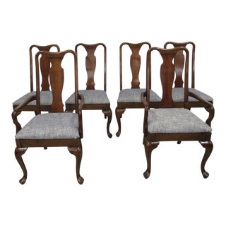 Set of 6 Thomasville Queen Anne Style Dining Chairs For Sale