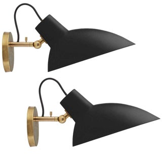 Vittoriano Viganò Black & Brass 'Vv Cinquanta' Sconces - A Pair For Sale
